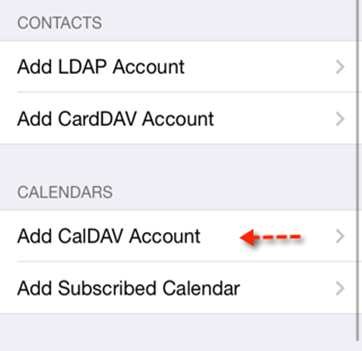 Cloud Email - Add Calendar CALDAV IOS